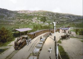 Two trains of the Ffestiniog Railway at Tan y Bwlch Station